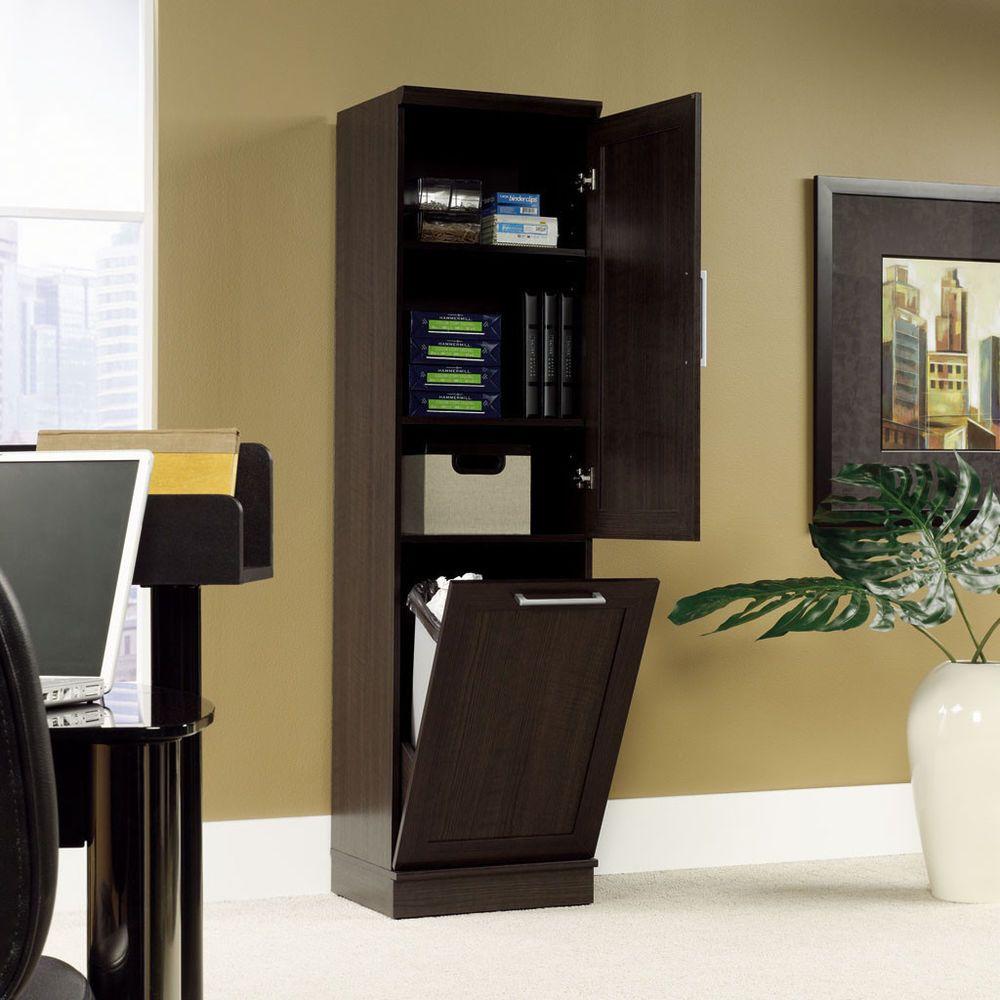 High Quality Oak Storage Cabinet Linen Wood Tower Home Office Laundry Pantry Closet  Trash Bin #Sauder #