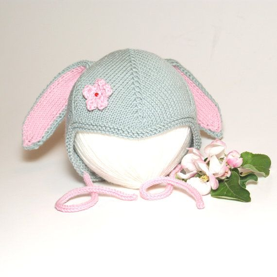 Knit bunny hat knit grey merino baby hat knitted Easter baby bonnet ...