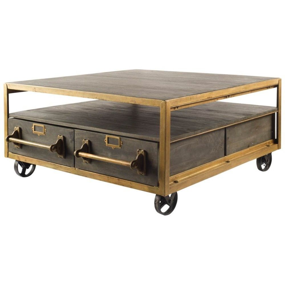 Rolling Square Coffee Table With Drawers Rustic Retreat Rusticretreat Coffeetables Coffee Table Square Brown Coffee Table Metal Coffee Table [ 1000 x 1000 Pixel ]