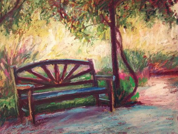 Garden Bench Painting Original Oil Pastel 7 X 9 By
