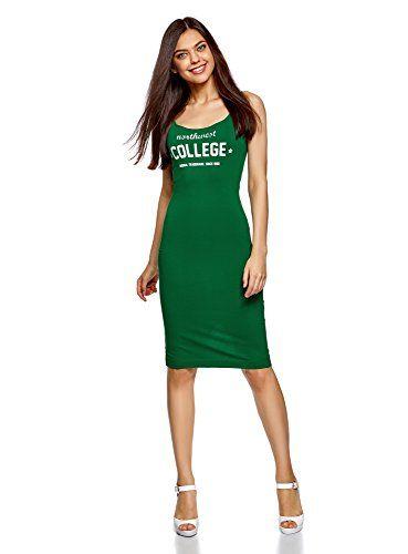 7a08feed707a oodji Ultra Femme Robe Débardeur Imprimé Vert FR 42   L