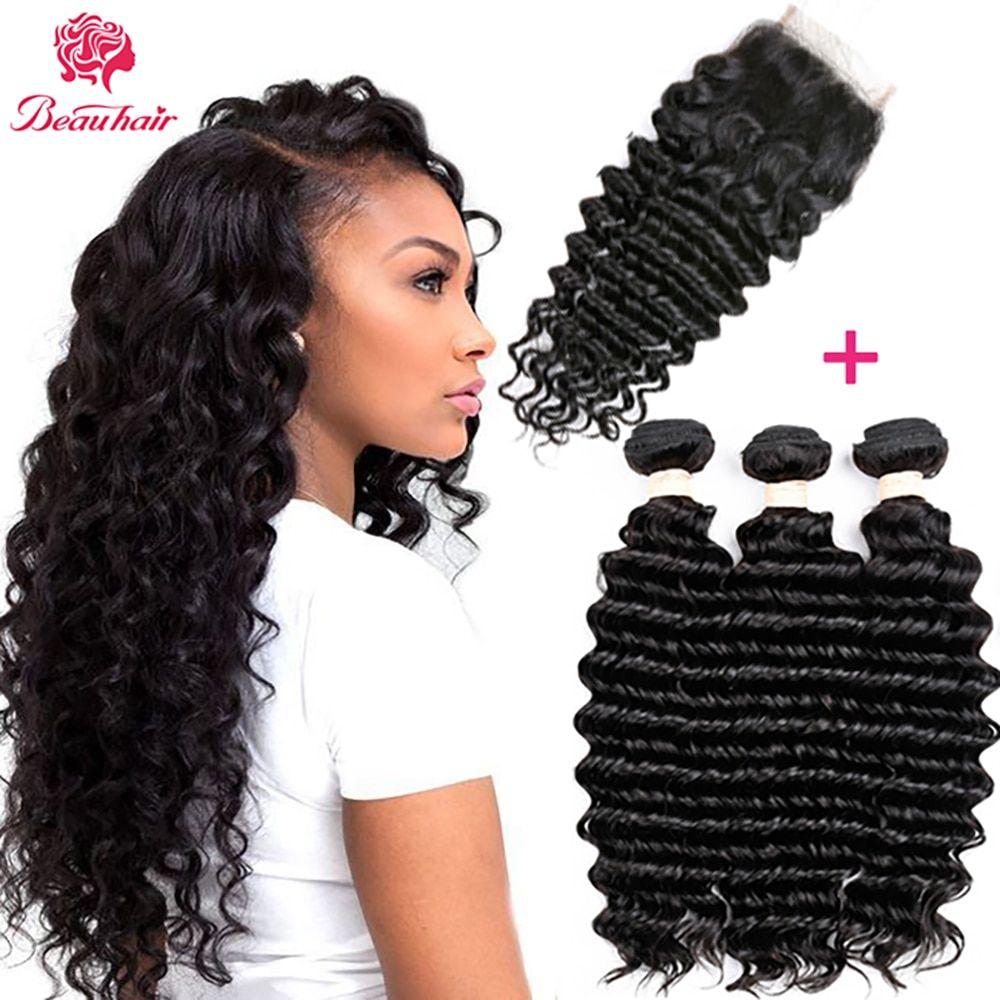 Beau Hair Deep Wave Human Hair Bundles With Closure 4 Pcs Lot Brazilian Hair Weave Bundles With Closure Non Brazilian Hair Weave Weave Hairstyles Hair Bundles