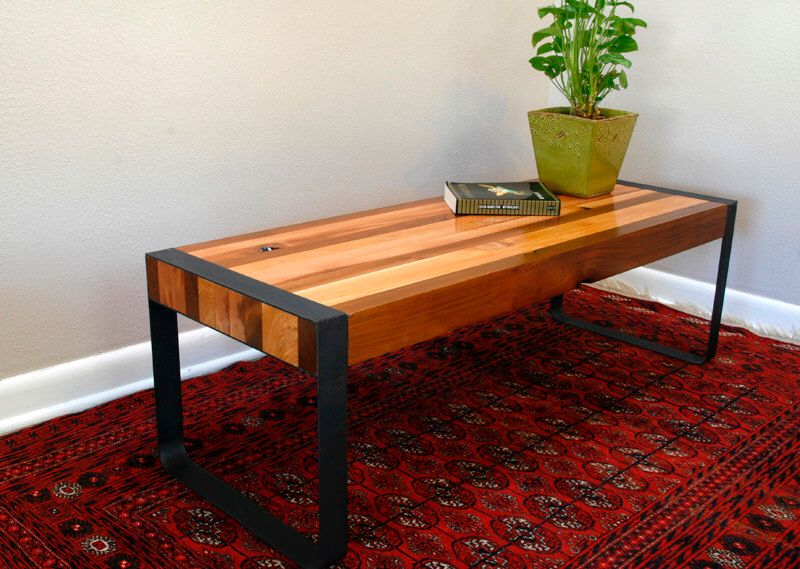 Modern Cedar Coffee Table With Handmade Metal Flat Bar Legs By SteeltreeWorks On Etsy