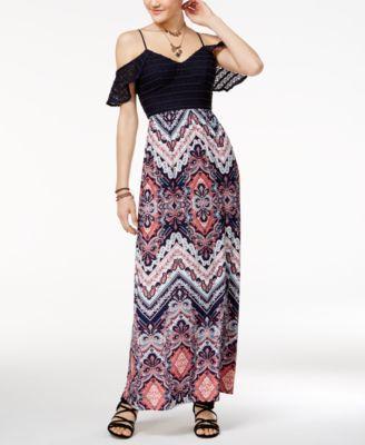 604404abd0a21 Trixxi Juniors' Cold-Shoulder Printed Maxi Dress | macys.com ...