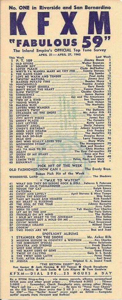 KFXM 590 AM Top 40 April 21 27 1962