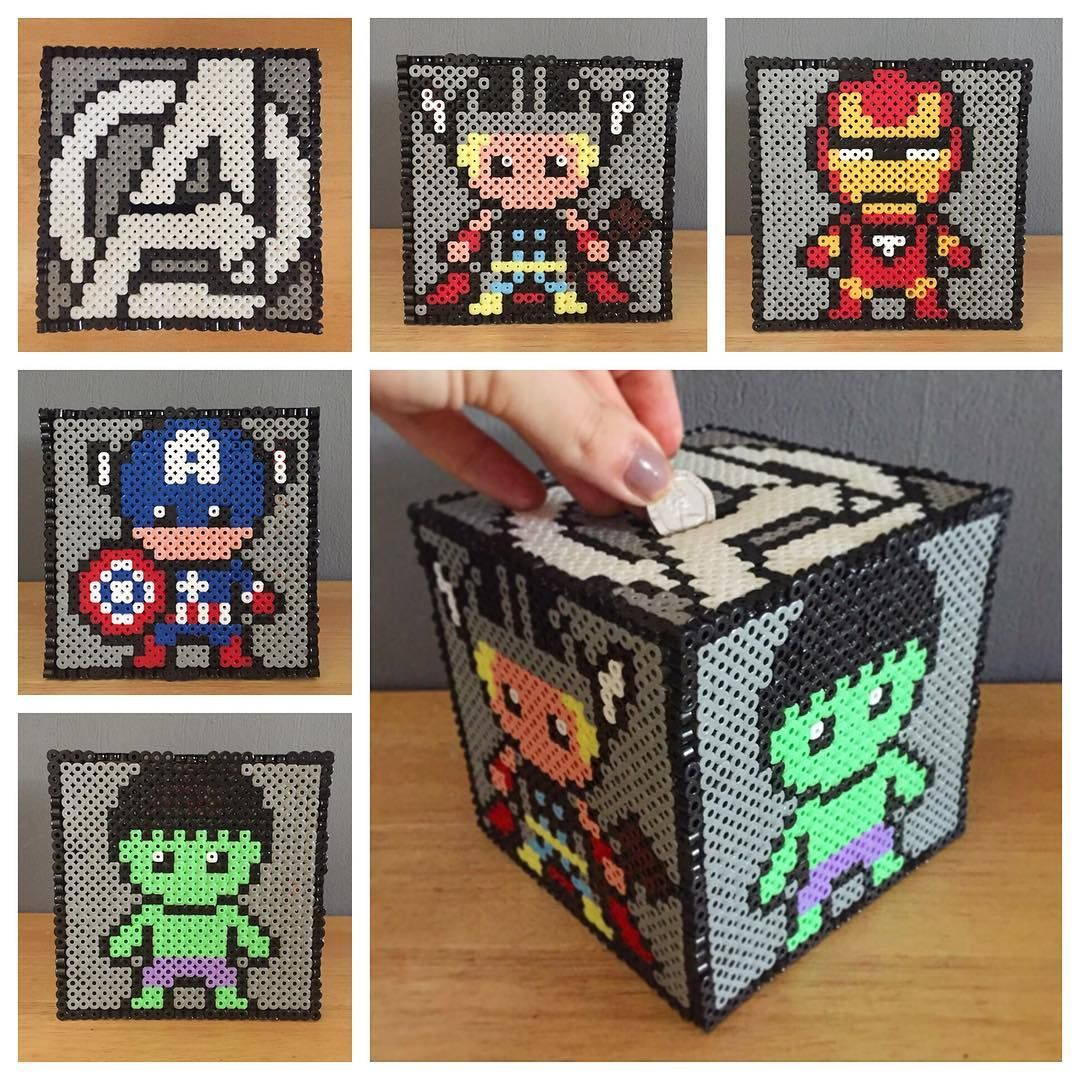 hight resolution of avengers money box perler beads by craftykelly21