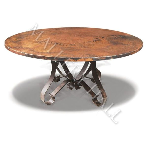 Tuscan Round Copper Top Flat Wrought Iron Base Dining Table