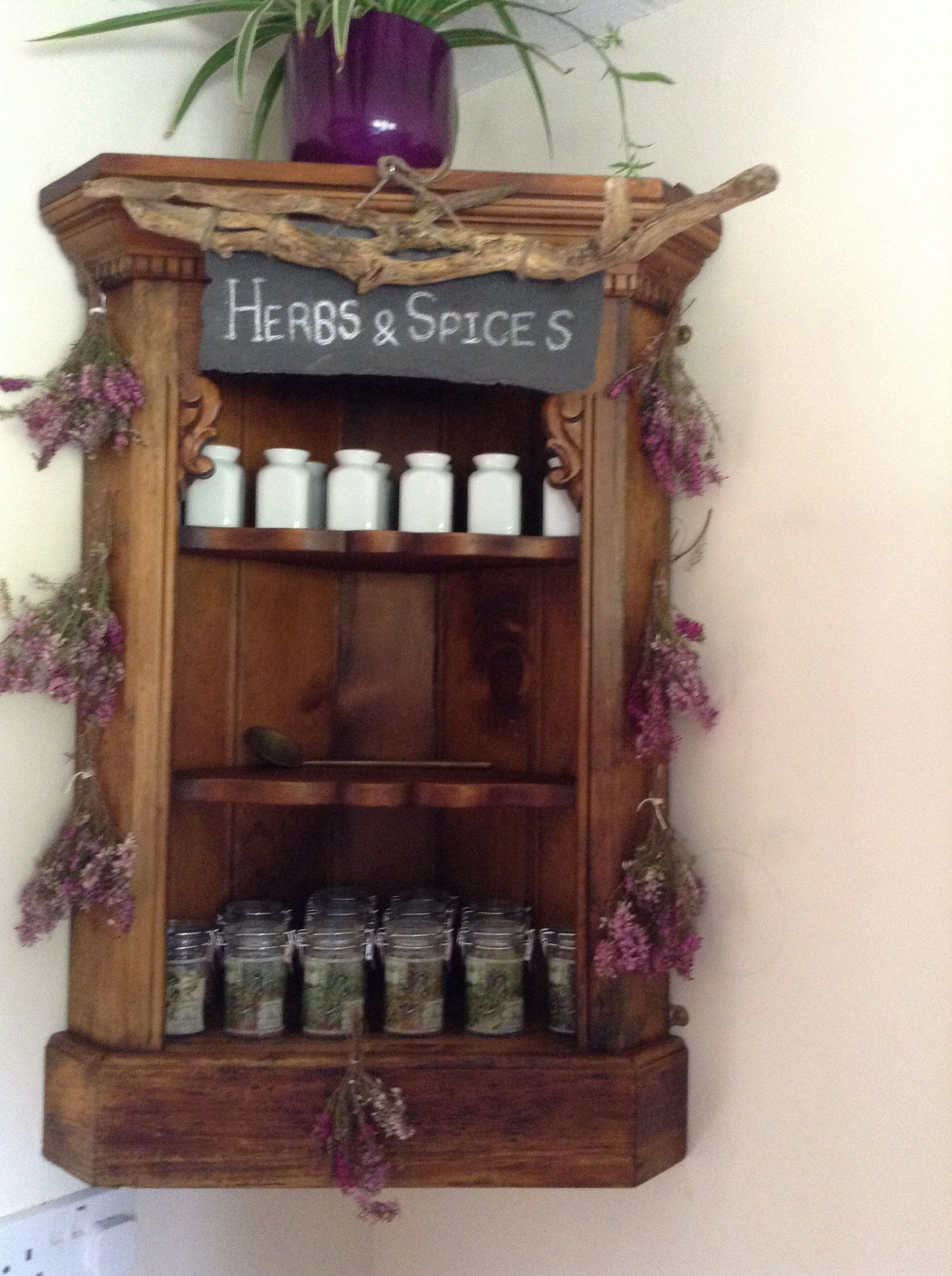 Refurbished Oak corner wall cabinet, hand made slate herbs and spices sign, heather dried from the garden.