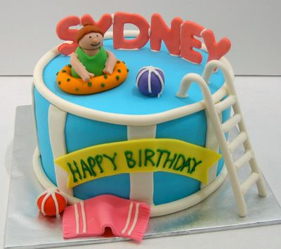 Admirable Swimming Pool Birthday Party Cakes For Boys And Girls Swimglows Funny Birthday Cards Online Inifodamsfinfo
