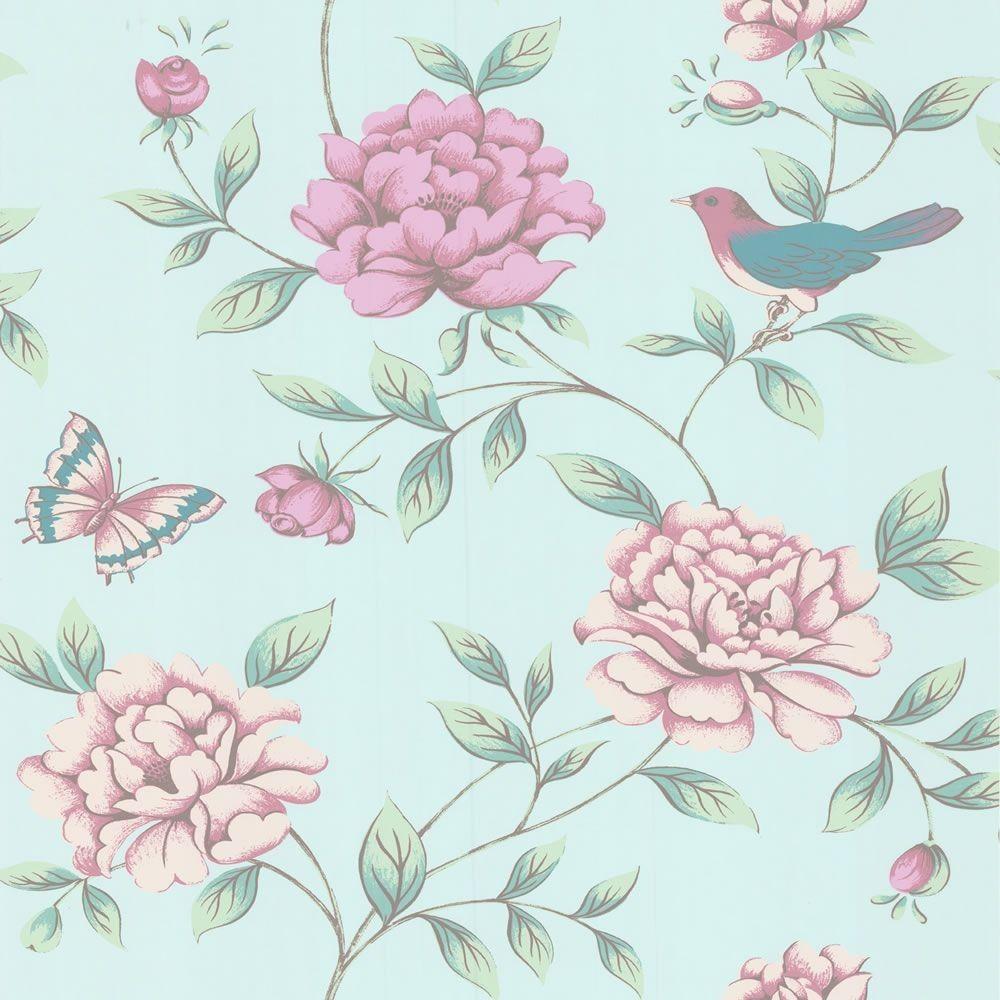 Duck Egg Pink 17869 Isabelle Birds Butterflies