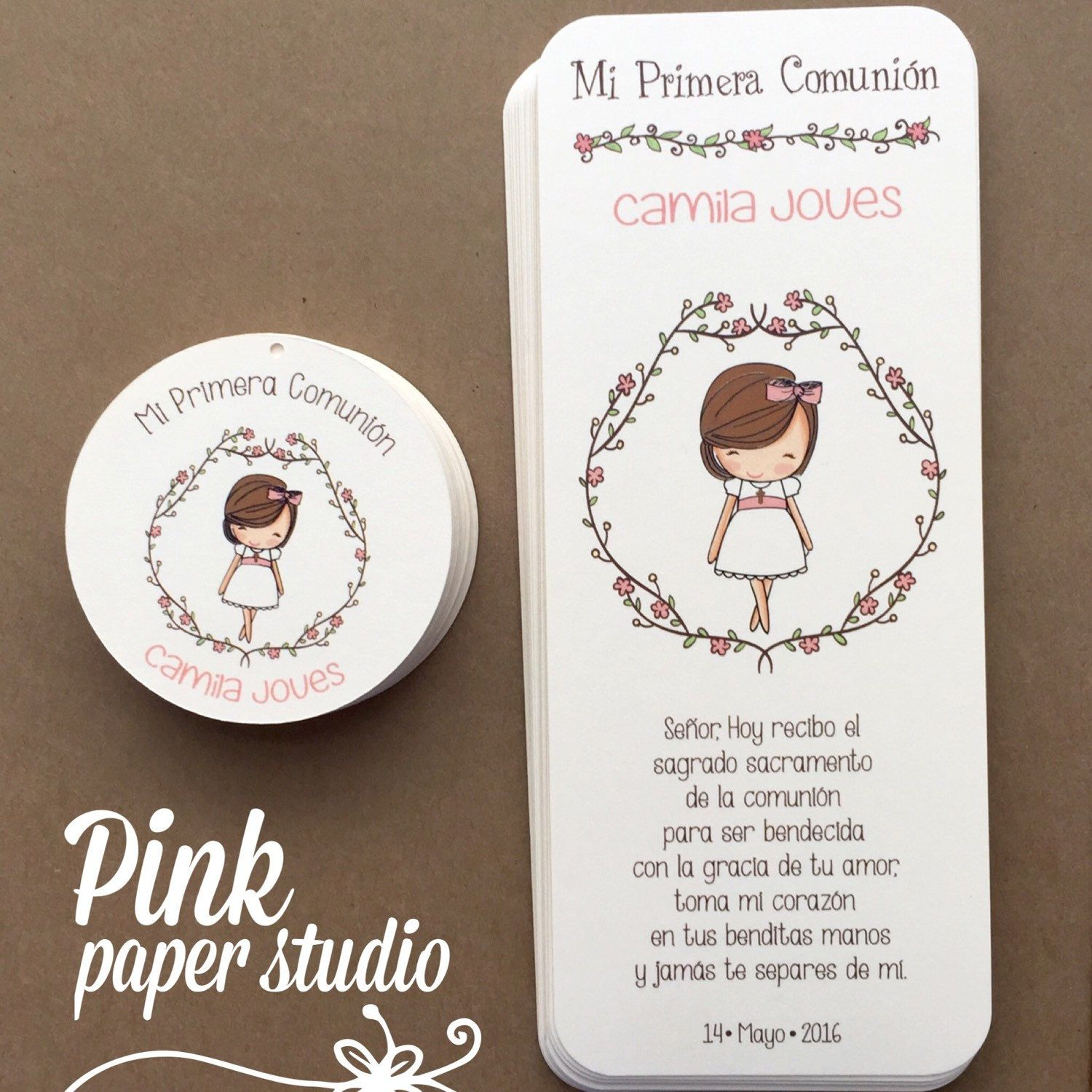 First Holy munion Favor Cards • Bookmark • munion Girl