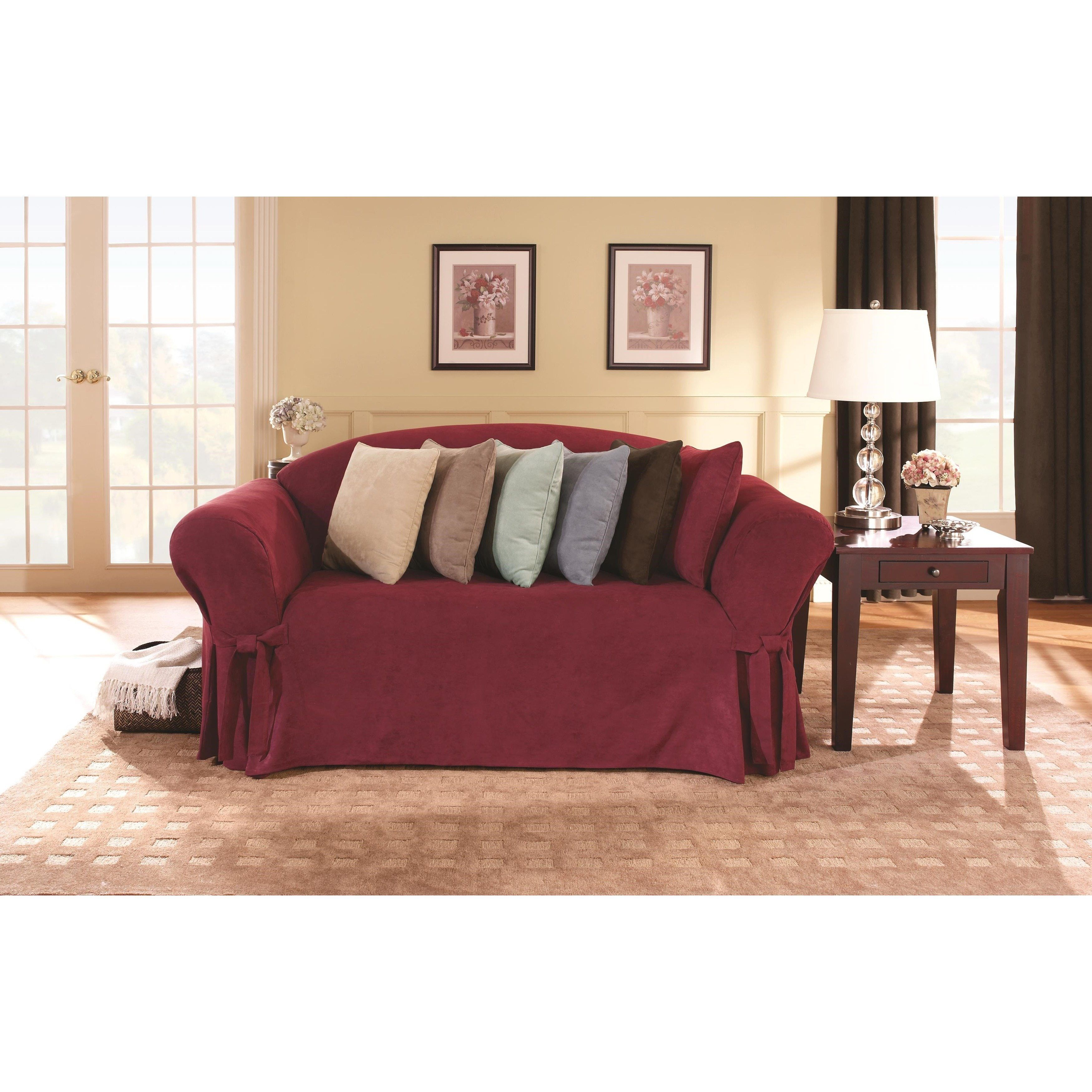 Sure Fit Smooth Suede Washable Loveseat Slipcover Burgundy