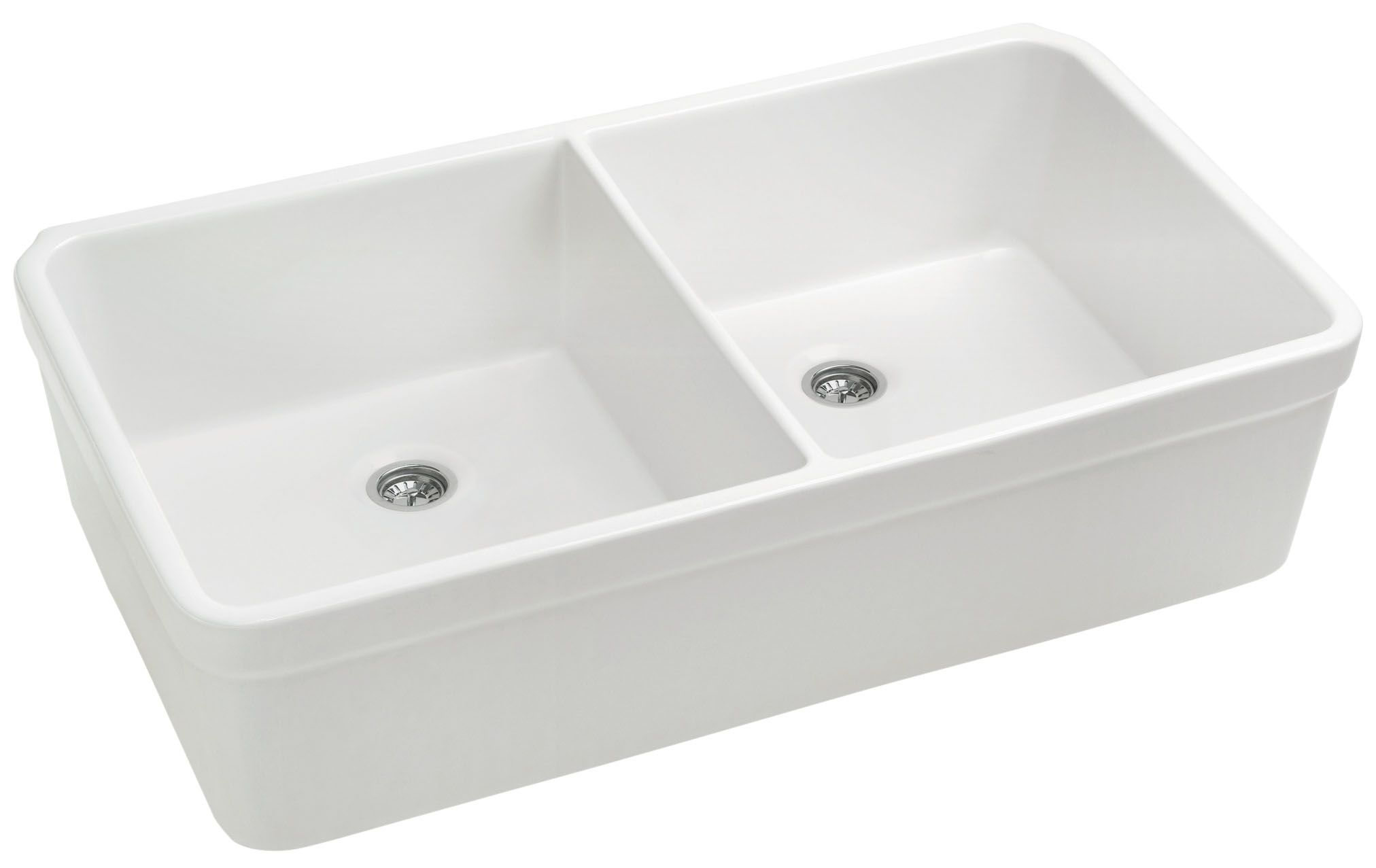 Whitehaus Whb5122 White Basichaus 32 Inch Double Bowl Fireclay Sink W A Smooth Front Apron A Decorative 2 Inch Lip 8 Inch Depth Double Bowl Kitchen Sink
