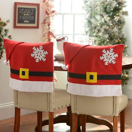 Santa Belt Chair Covers Set Of 2 Fundas Para Sillas Navidad