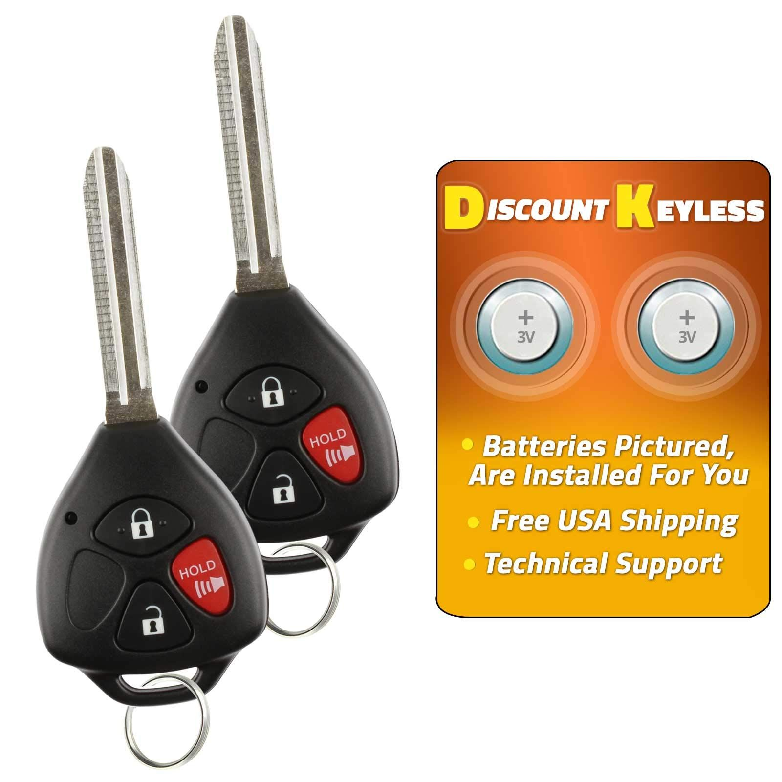 Uncut 4 Replacement Ignition Car Key For Toyota Camry Keyless Entry Remote Fob