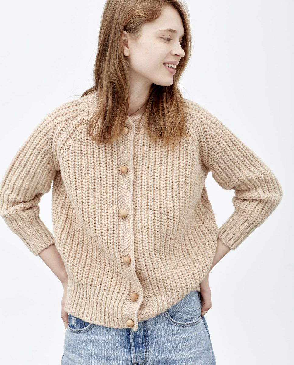 0ac7bba7867 babaà cardigan no5, rosé — chunky ribbed knit complete with a high ...