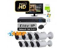 Elite 8 Bullet 4MP Kit Item: EKIT8-90B - Wide Angle 3.6mm Fixed Lens  - HD 4 Megapixel  - 90 Foot Night Vision - PoE Power Over Ethernet