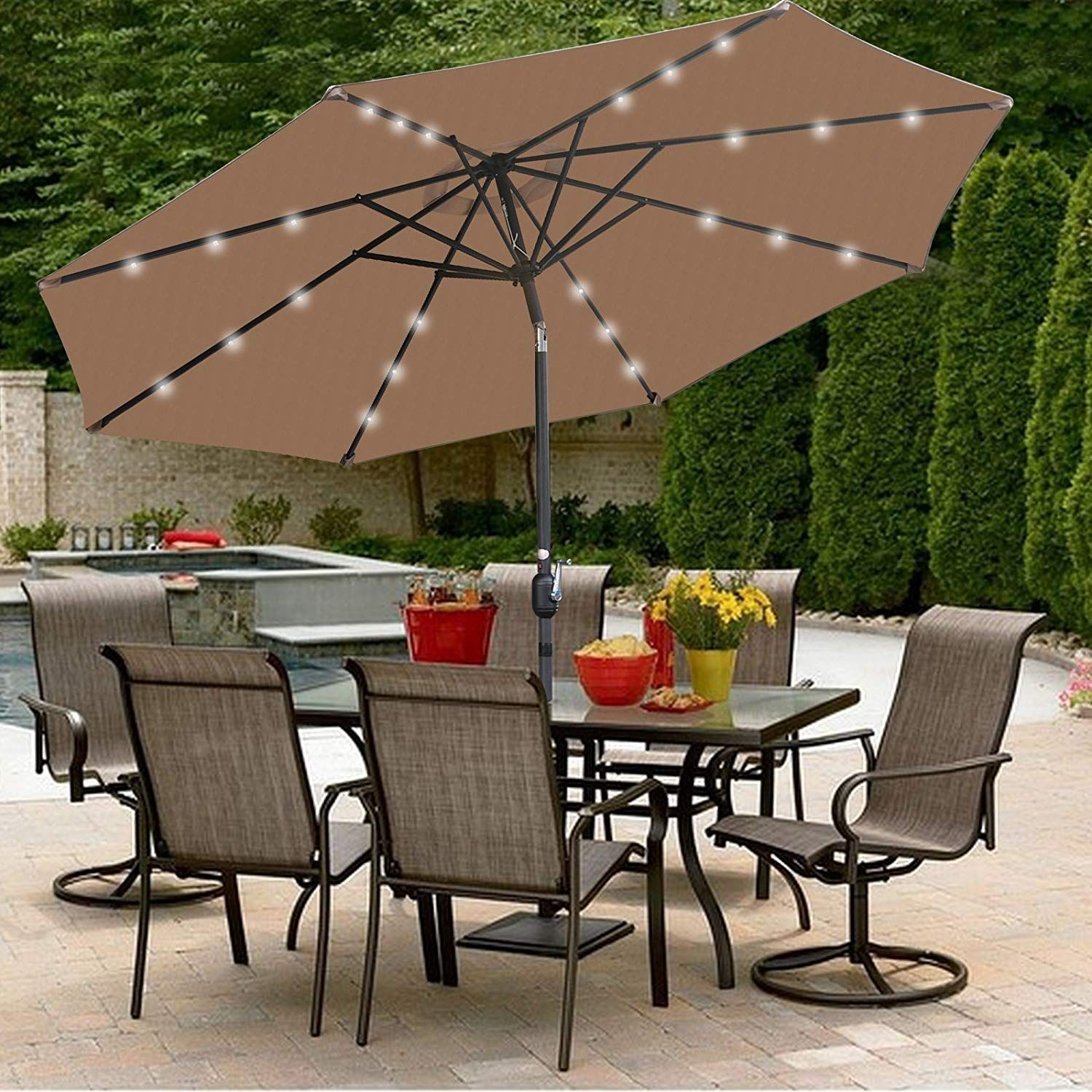 Stay Covered Under This Super Deal 10ft Patio Umbrella Led Solar Power Right Here Https Www A Backyard Patio Furniture Clearance Patio Furniture Patio Decor