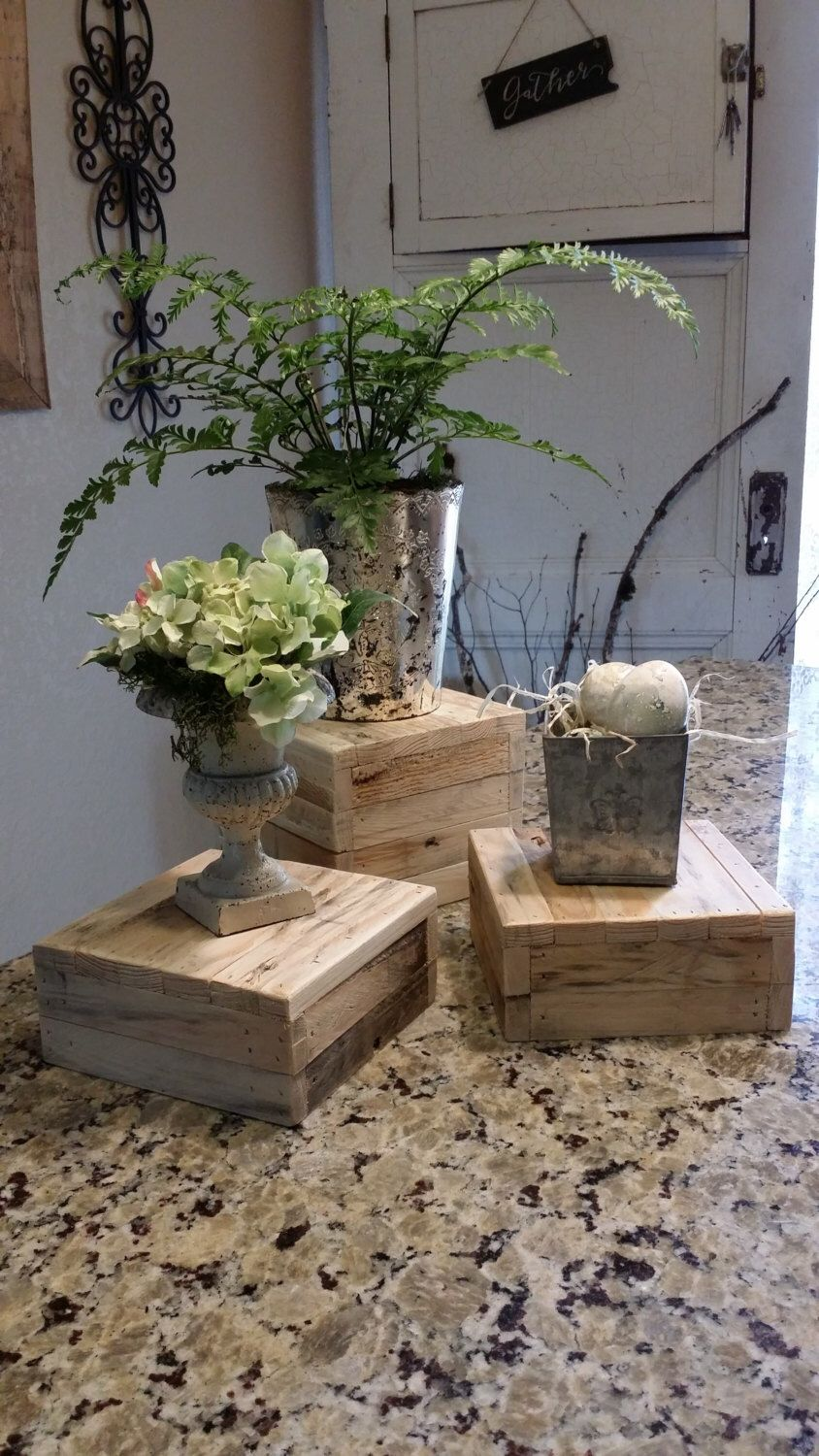 Table Risers, Rustic Table Stands, Buffet Risers, Display Box, Rustic Wood  Box