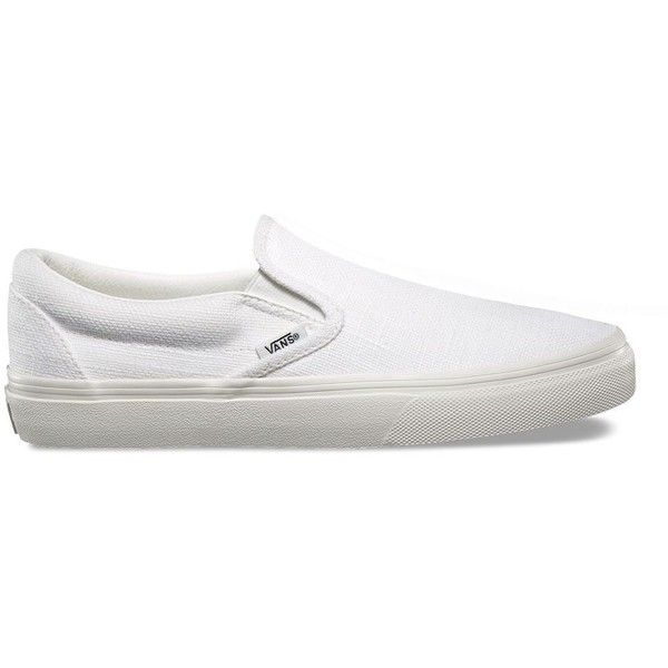 Vans Hemp Linen Slip-On (799.800 IDR) ❤ liked on Polyvore featuring shoes, sneakers, white, slip on shoes, white low top shoes, low profile sneakers, white sneakers and white slip on shoes