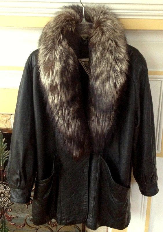 Genuine Real Black /& silver Fox Fur Collar