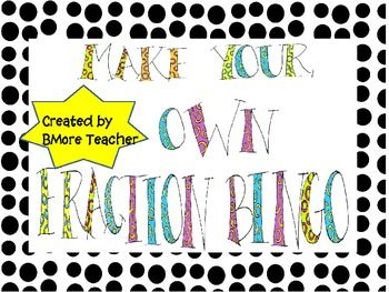 This is a Fraction Bingo game where students make their own bingo ...