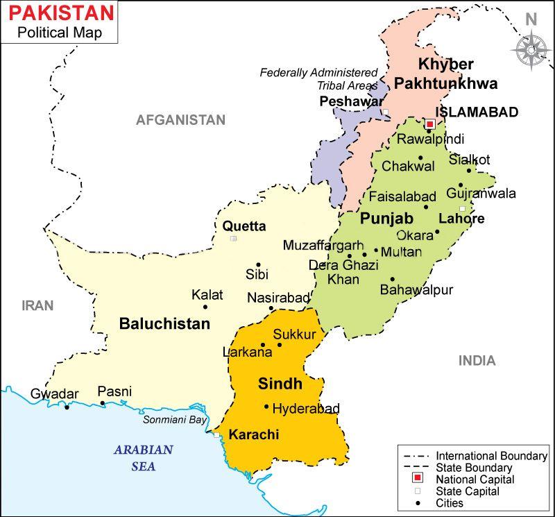 Political Map Of Pakistan Pakistan Pinterest Pakistan Map