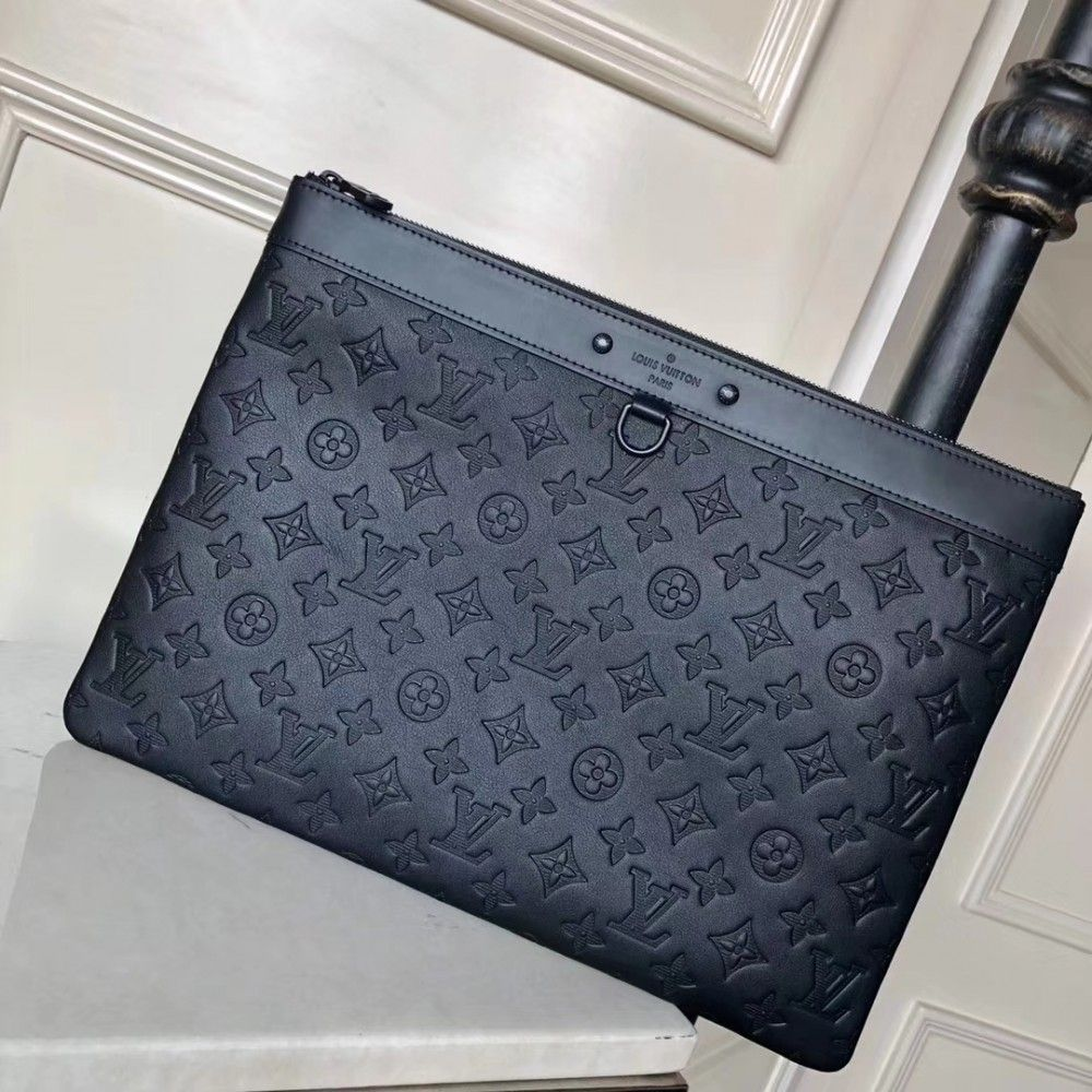 485829b68dc0 Louis Vuitton Pochette Apollo M62903 black Monogram Shadow calfskin ...