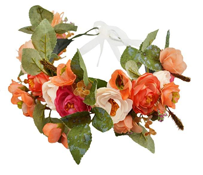 Rose Flower Crown Boho Flower Headband Hair Wreath Floral Headpiece Halo With Ribbon Wedding Party Festiv Whimsy Flowers Flower Crown Hairstyle Flower Headband
