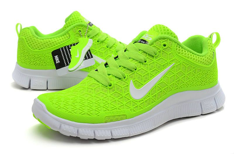 Nike Free 5.0 V3 Womens Running Shoes Fluorescent Green Grey