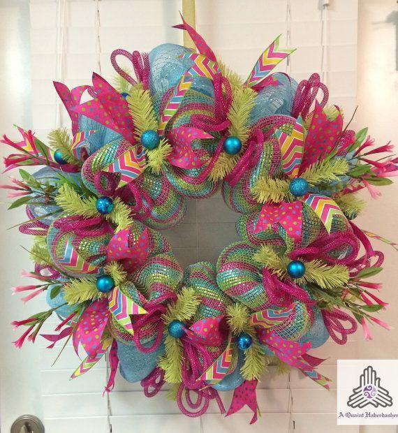 Spring Aqua Pink Green Deco Mesh Wreath By