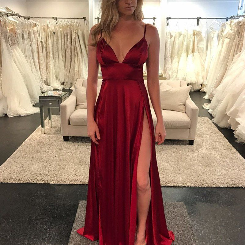 c4f62e0bfa simplicity is best for fashion! v neck cut with leg slit make this burgundy satin  gowns so elegant as well as as sexy!