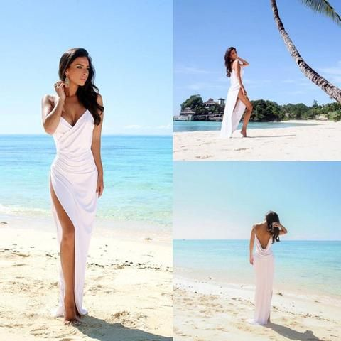 Halter Sweep Train Wedding Dresses,Lace Up Appliques Back Beach ...