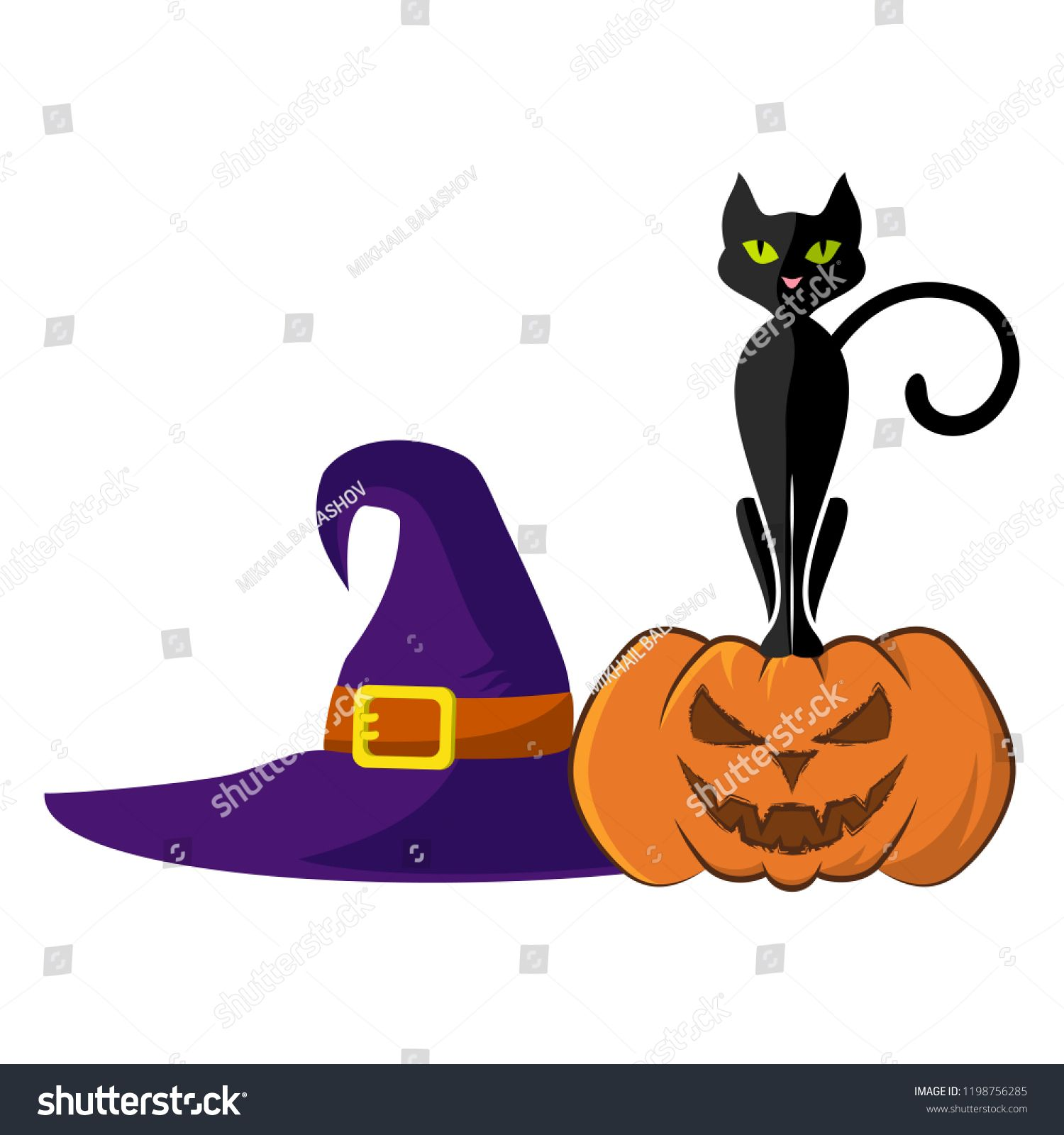 Vector image of ominous pumpkin, black cat and witch hat