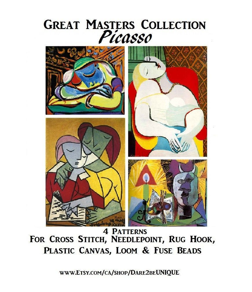 Plastic Canvas Needlepoint Tapestry /& Rug Hooking Patterns Digital Download Pdf DIY Masterpiece 4 Picasso Art PATTERNS for Cross Stitch