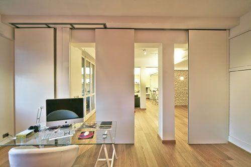 Le pareti manovrabili sono costituite da pannelli che scorrono in una guida fissata a soffitto ...