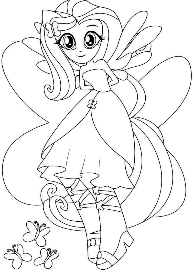 Fluttershy My Little Pony Equestria Girls Coloring Page My Little Pony Coloring Coloring Pages Unicorn Coloring Pages