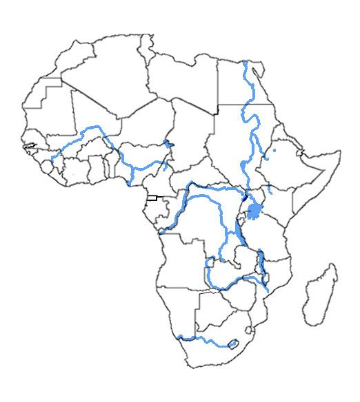 blank africa map with rivers