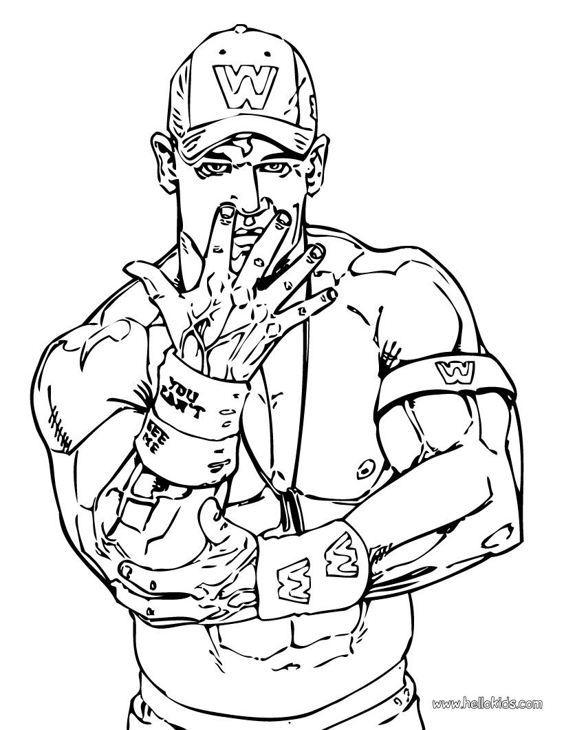 John Cena Coloring Page WWE party