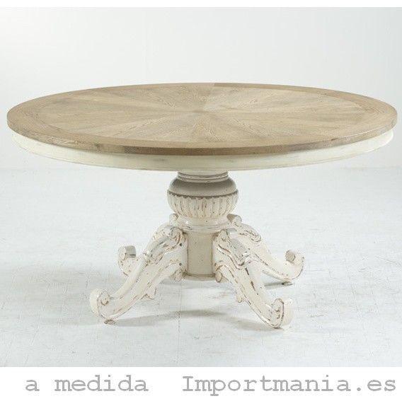 Mesa redonda comedor getxo creaciones en madera for Comedor mesa redonda