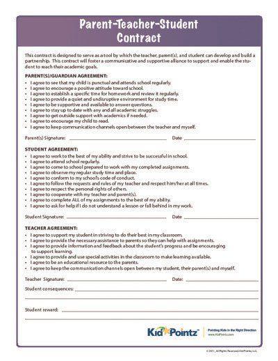 Parent, Teacher \ Student Classroom Behavior Kid Pointz - student agreement contract