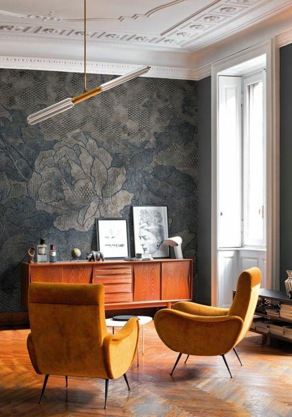 Uberlegen Tapeten Stilvolles Wanddesign Mit Blumenmuster Im Wohnzimmer