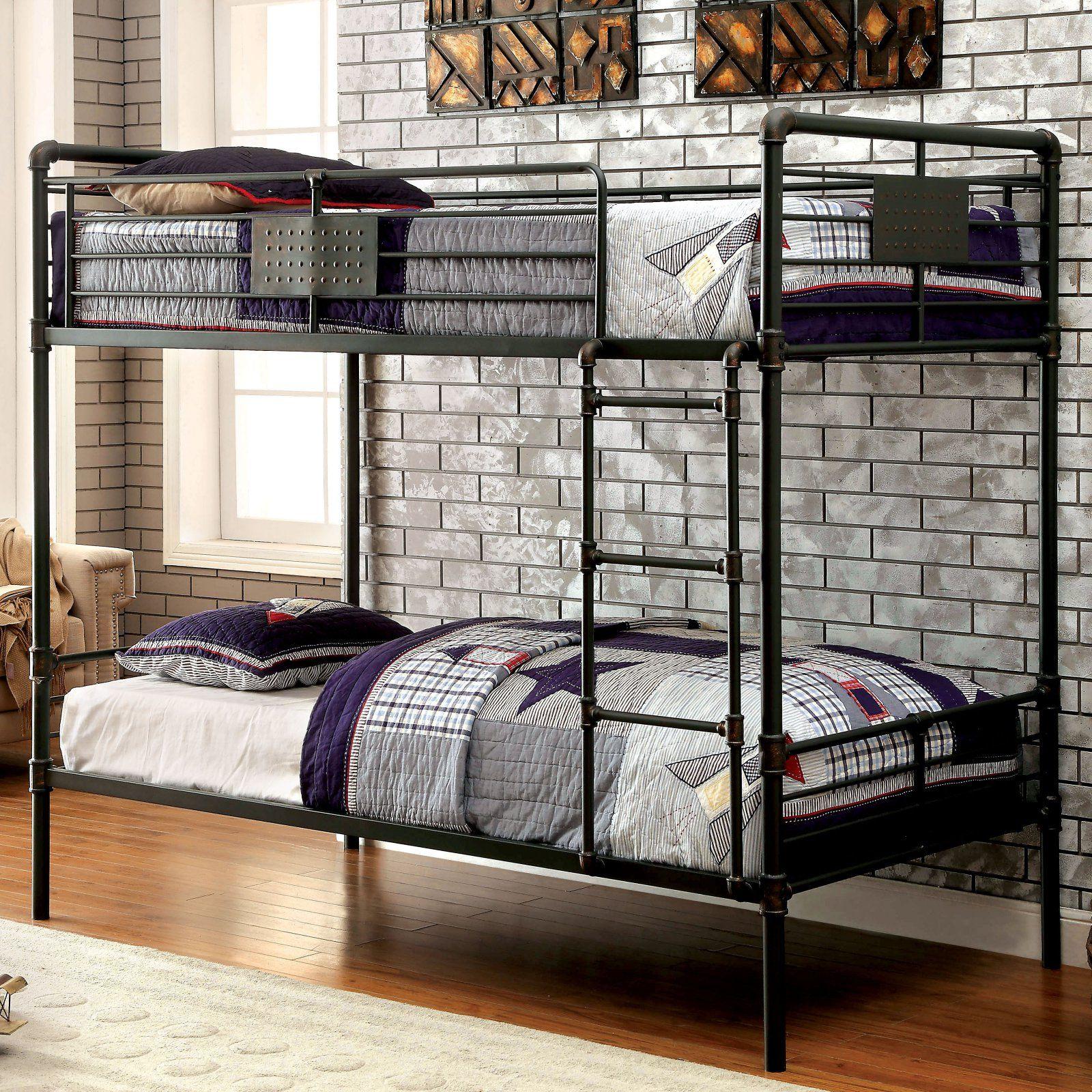 Furniture Of America Erloun Metal Framed Twin Over Twin Bunk Bed