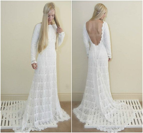 Vintage Wedding Dress Backless Crochet Lace by DaughtersOfSimone ...