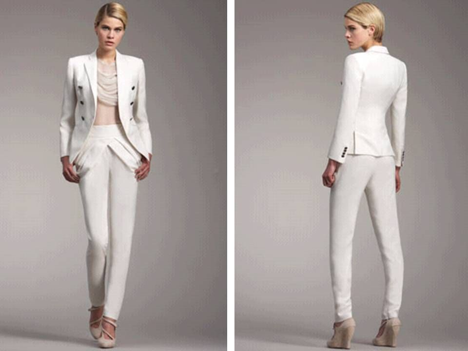 Popular White Wedding Pant Suits For Bride MEMEs