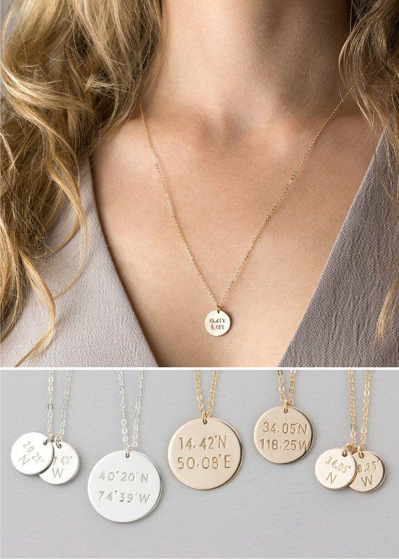 14k White Gold Round Engraveable Pendant Disc Charm Custom Name Plate