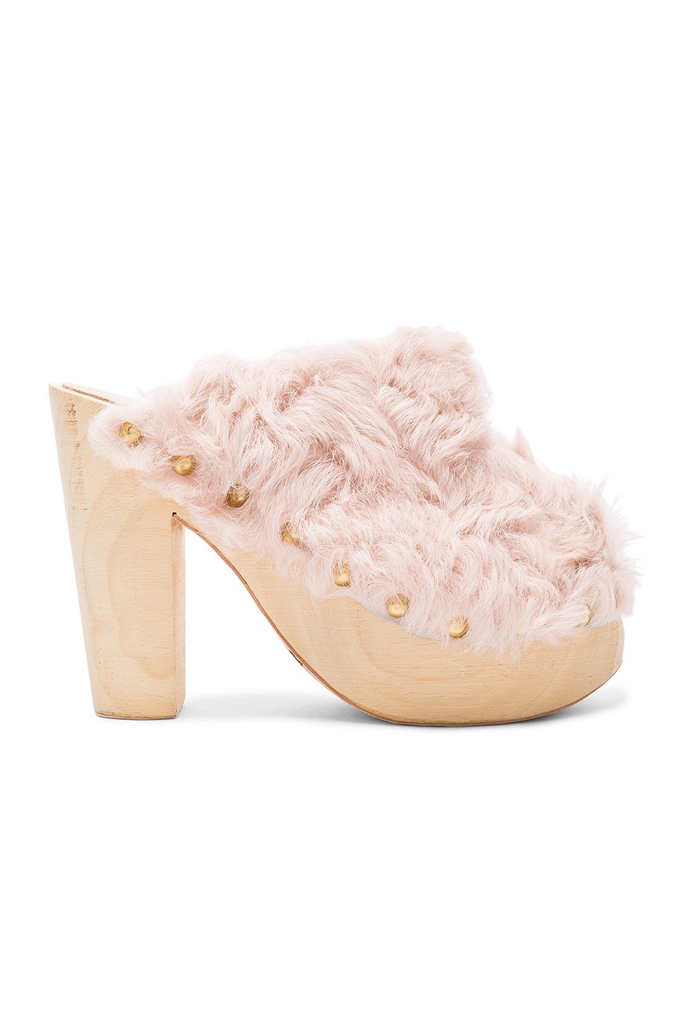 2469d51595605 Image 1 of Brother Vellies FWRD Exclusive Curly Rabbit Fur Clogs in ...