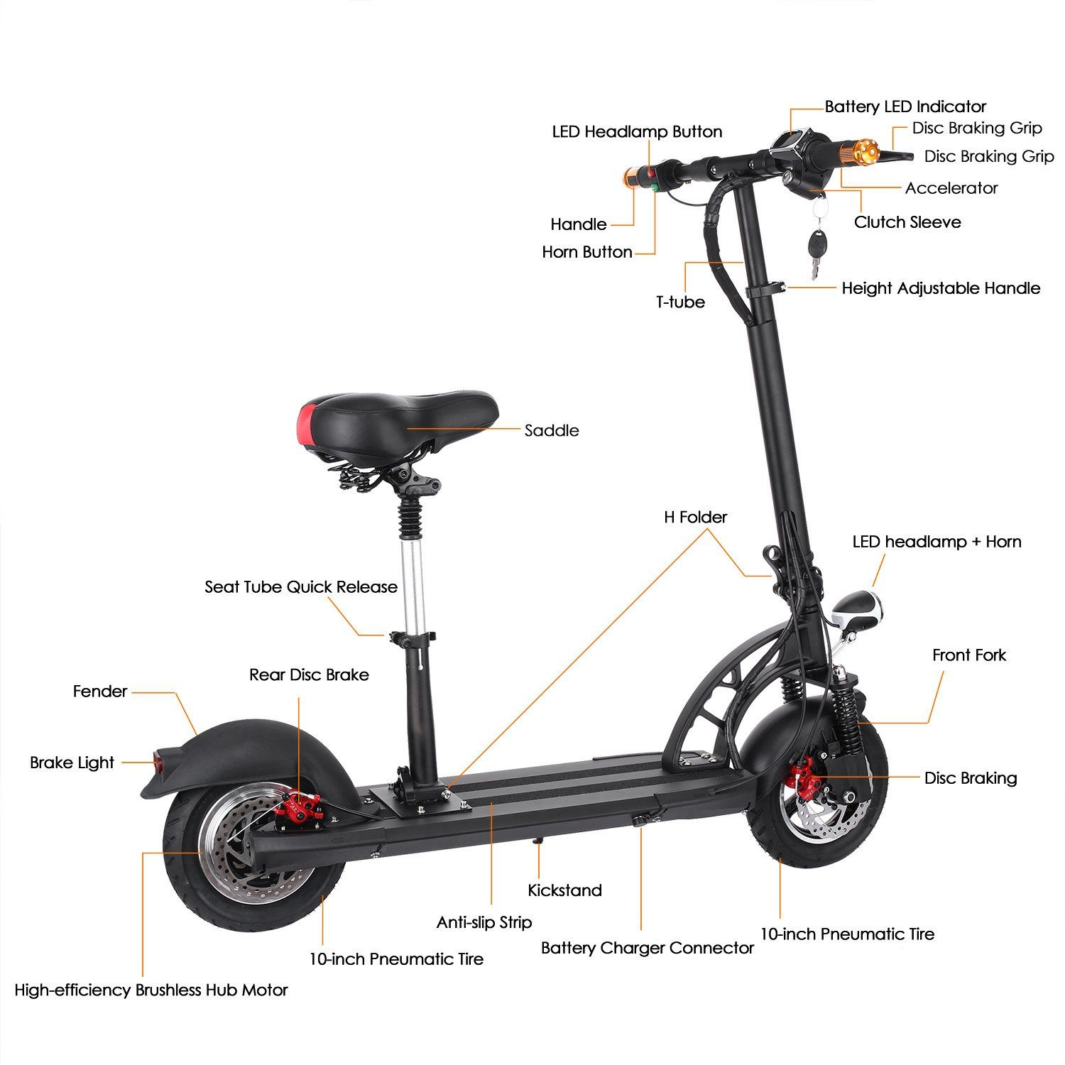 Weskate Electric Scooter For Foldable With Seatescooter Men Women Commuting Led Display9 Wide Deck And 10tire Max 300lbs Find Out More About