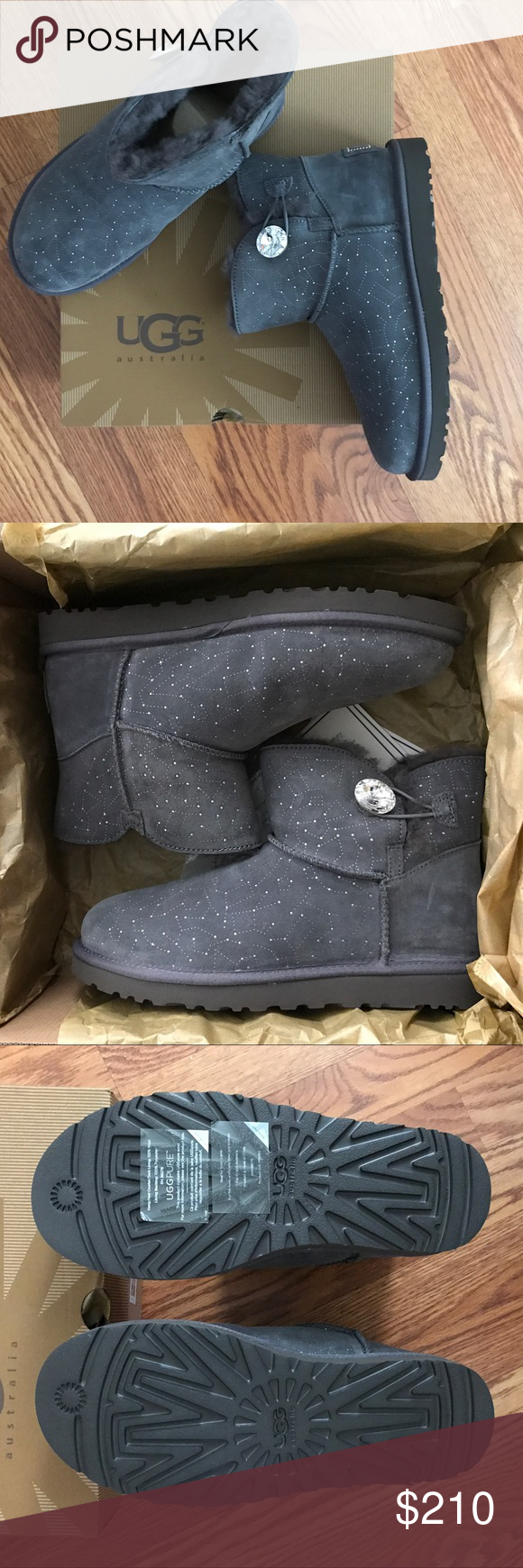 fa7c42b0bee Ugg Mini Bailey Bling Button Constellation Boots 9 Limited Edition ...