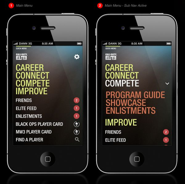 Call of Duty Elite – iPhone App | app | App ui design